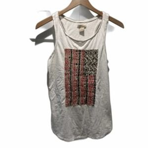 Lucky Brand RacerBack Tank Top White Red Blue Flag